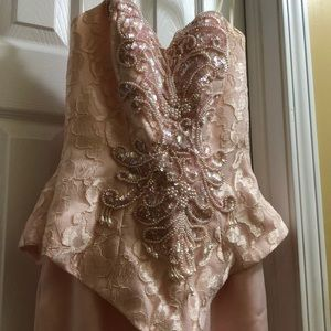 Pink long sequenced mother of the bride dress